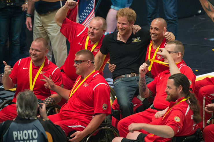 Prince Harry poses for a photo with members of the Danish team after the medal ceremony for wheelchair basketball at the 2016 Invictus Games in Orlando, Fla., May 12, 2016. DoD photo by E. Joseph Hersom
