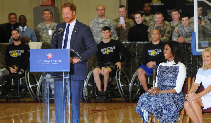 Britain's Prince Harry talks to wounded warriors at Fort Belvoir, Virginia, alongside first lady Michelle Obama and Dr. Jill Biden, as they officially launch the second Invictus Games, Oct. 28, 2015. The games are set to be held in Orlando, Florida, in May. DoD photo by Katie Lange