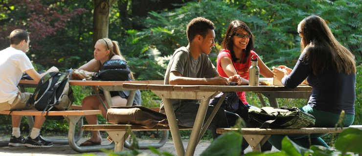 Students on h-wing patio