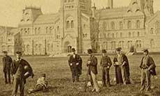 Students on the front campus, University College (1880)