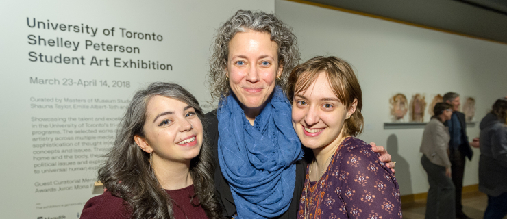 Kali Banner, Sylvie Stojanovski and Professor Lynn Tucker at the Student Engagement in the Arts Awards Ceremony
