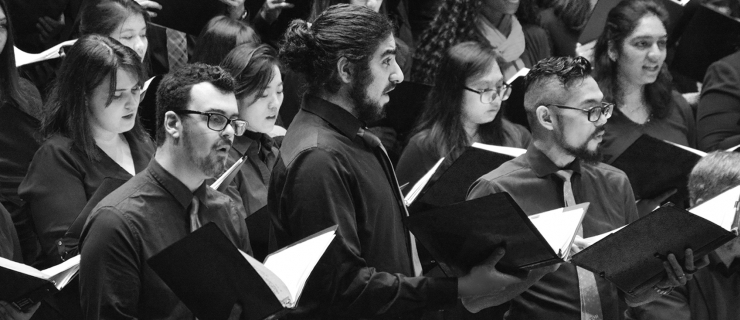 UTSC choir students performing at the UTSC lecture hall.