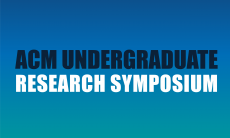 ACM Undergraduate text in blue, research symposium text in white. Blue to teal gradient background