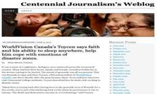 Graphic screenshot of the Centennial Journalism Weblog site