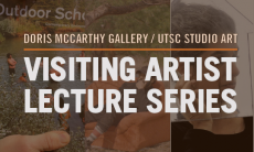 Image of the Visiting Artist Lecture Series. White text with Visiting Artist Lecture Series, Orange line under light brown text with Doris McCarthy Gallery/UTSC Studio Art.
