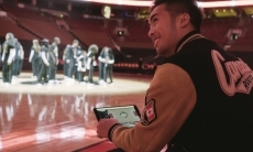 Axel using StageKeep at Raptors dance rehearsal. Courtesy of StageKeep.