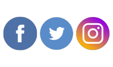 Facebook, Twitter and Instagram icons