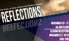 Invitation to the Studio Practice exhibition titled Reflections from Nov 20th to the 27th on the 3rd floor of the AA building. Reception  on Nov 27 from 5 to 7 pm.