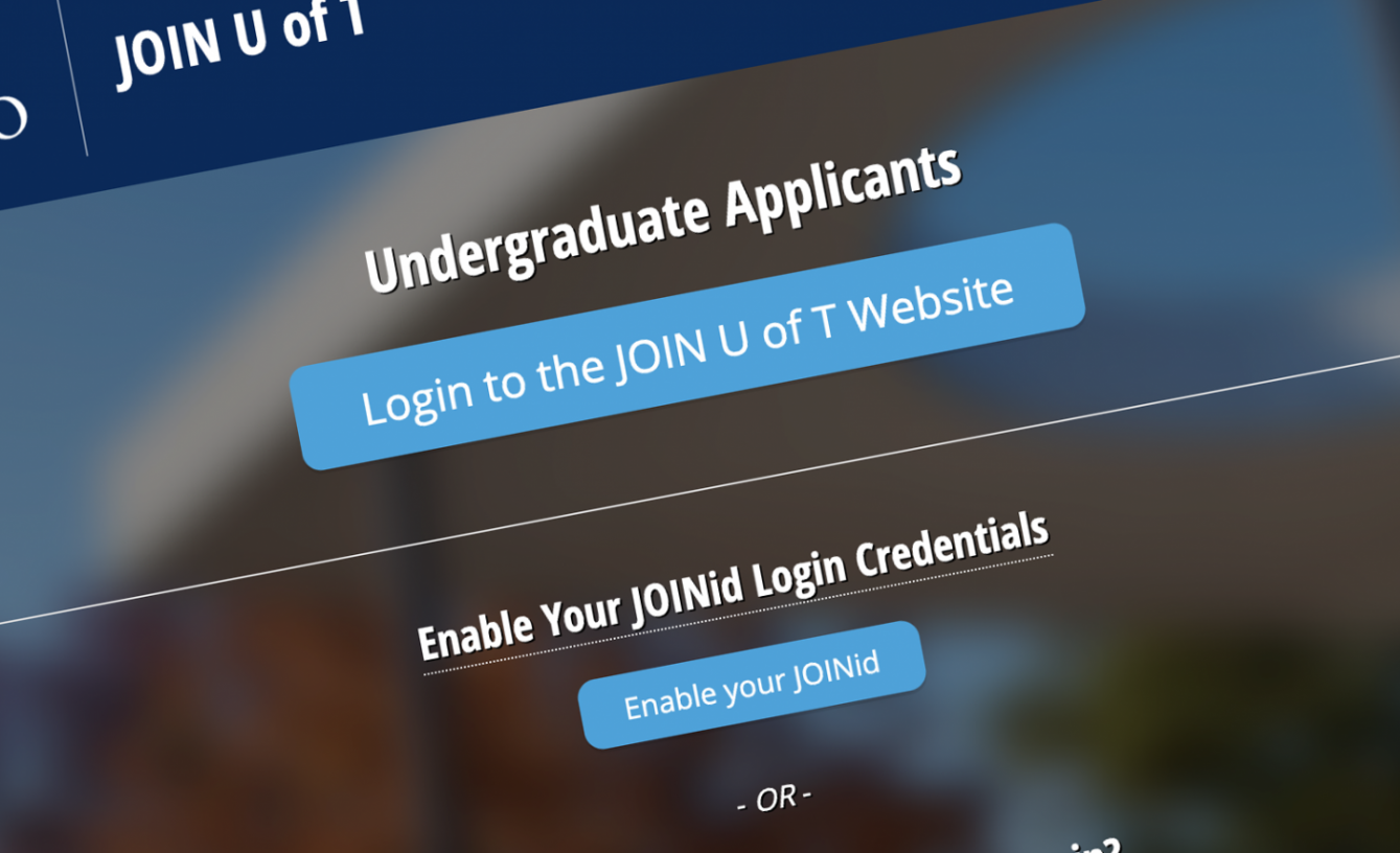 screenshot of the JOIN U of T homepage