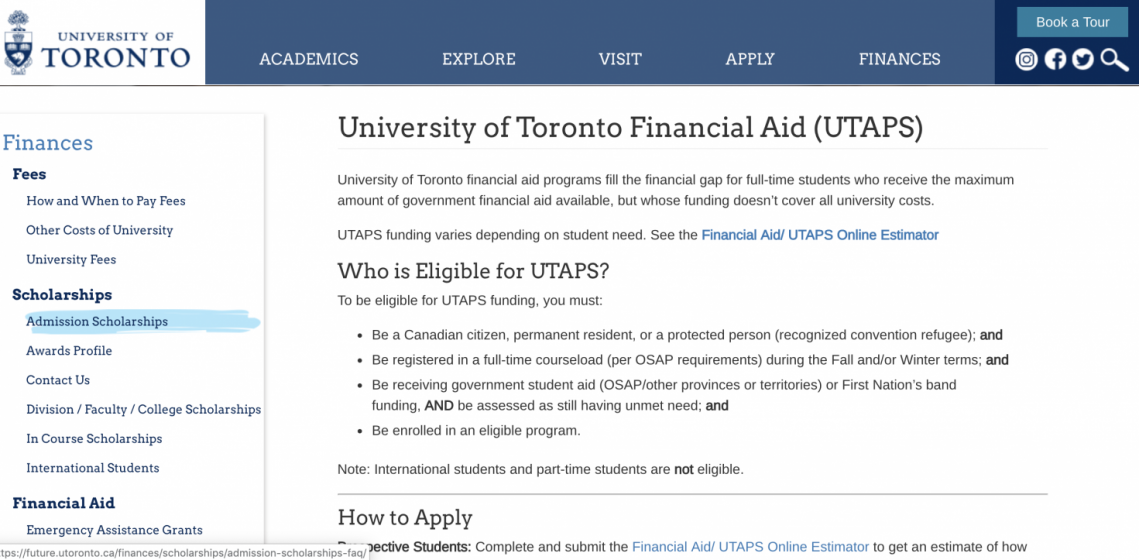 Screen shot of UTAPS page