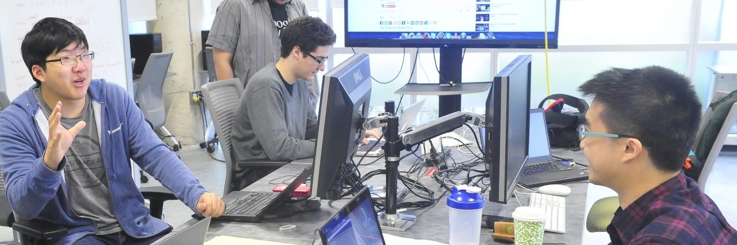 students working at a desk