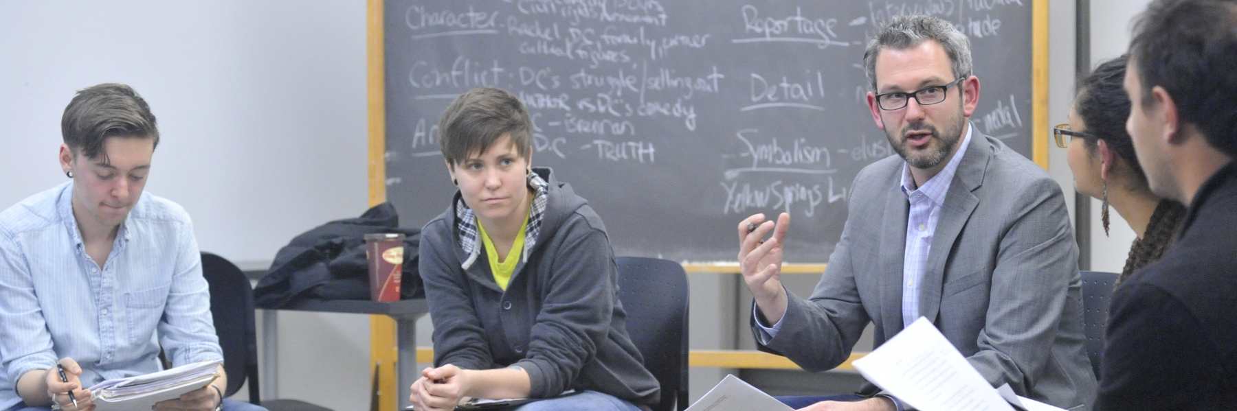 students in a creative writing class