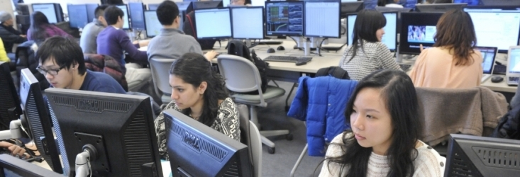 students working in a finance lab