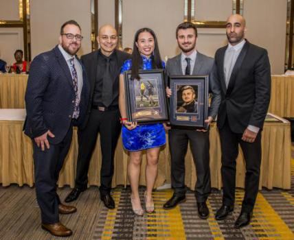 Soccer Hall of Fame Recipients Caitlin Cosgrove and Mirza Celik