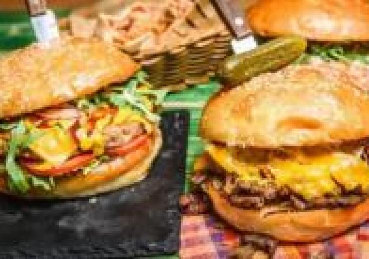 2 burgers on a plate