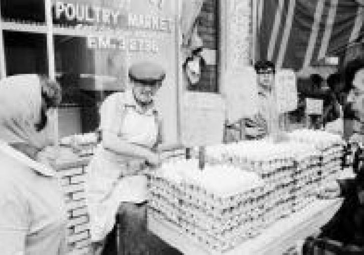Man selling eggs circa 1950s in Kensington Market