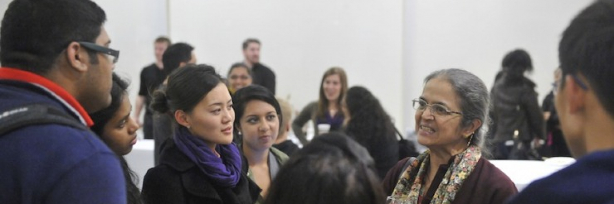 Students networking with Al Berry series lecturer