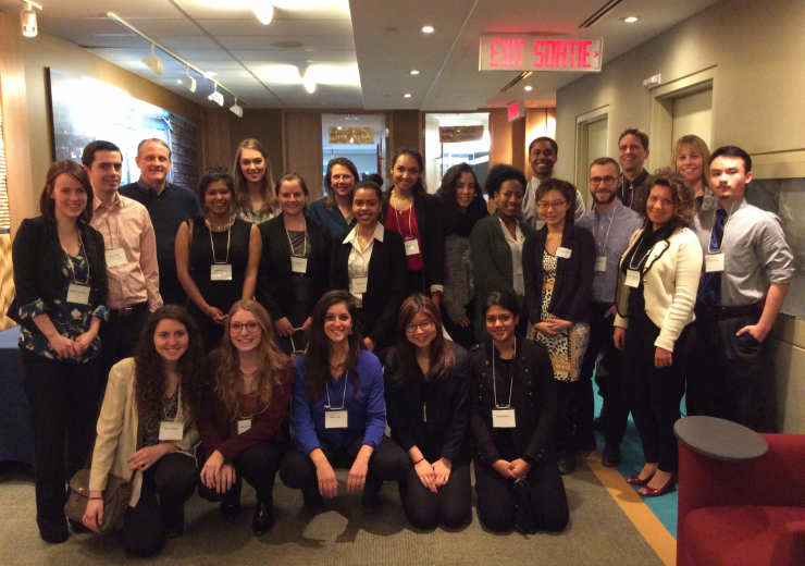 A networking event at the IDRC in Ottawa with IDS students, 2015.