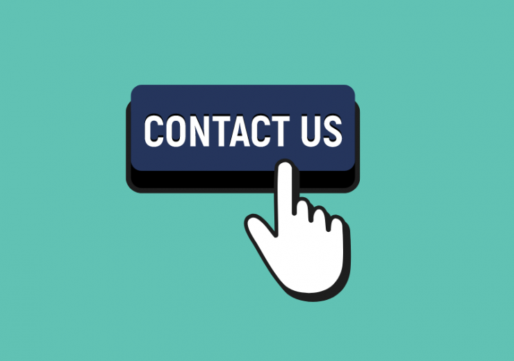 Contact us button with the index finger on the right hand clicking the button