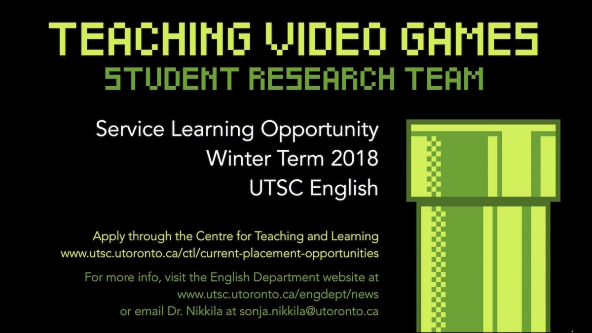 Teaching Video Games Student Research Team | Department of