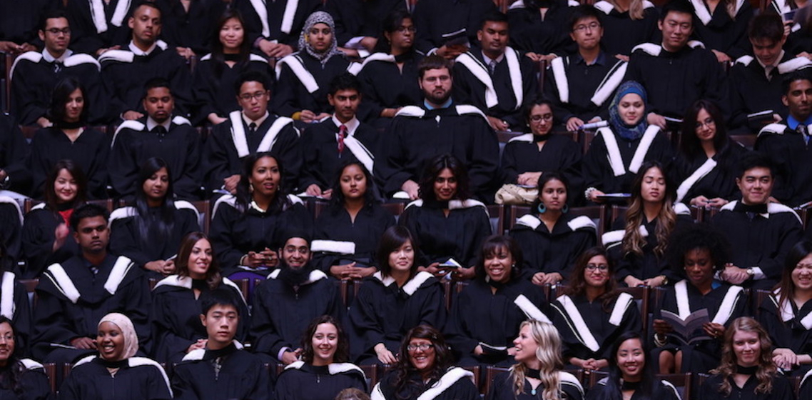 A massed group of UTSC Alumni during their graduation ceremony