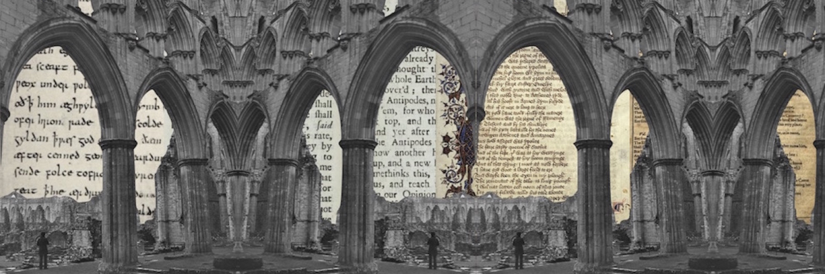 Gothic arches and medieval text artifacts