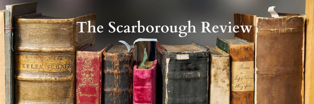 """bookshelf with the words """"Scarborough Review"""""""