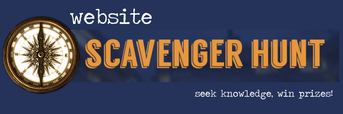 Website Scavenger Hunt: seek knowledge, win prizes (blue and gold with compass)