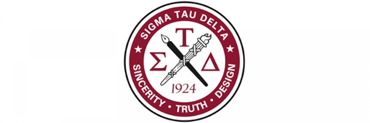 """Sigma tau delta logo: red and white with crossed pen & torch, """"sincerity truth design"""""""