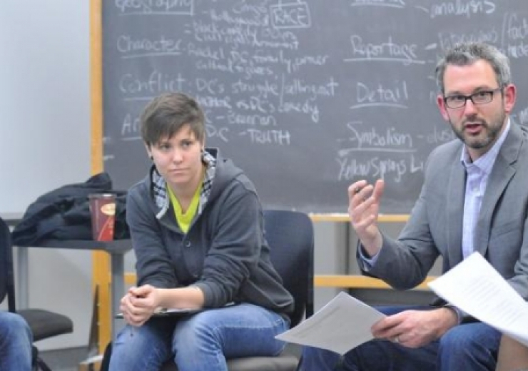 prof westoll workshopping with creative writing students