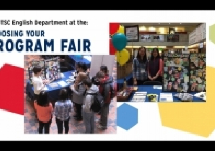utsc english dept at choosing your program fair: pictures of faulty and students at display booth
