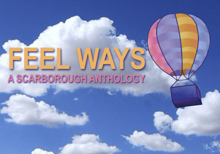 The FEEL WAYS colorful hot air balloon rises through blue skies and white clouds