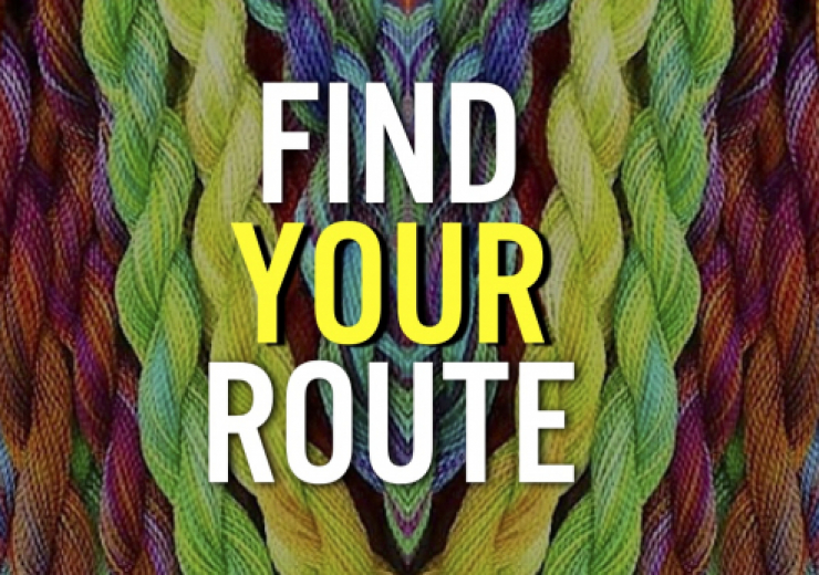 "Colored embroidery twists behind ""find your route"""