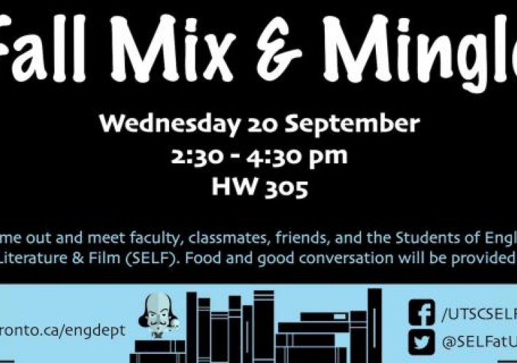 Wednesday 20 September 2017 from 2:30-4:30 in HW305. Come out and meet faculty, classmates, friends, and the Students of English Literature and Film (SELF). Food and good conversation will be provided.