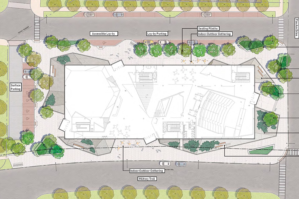 Rendering of exterior and main-floor overhead view including street access and basic landscaping.