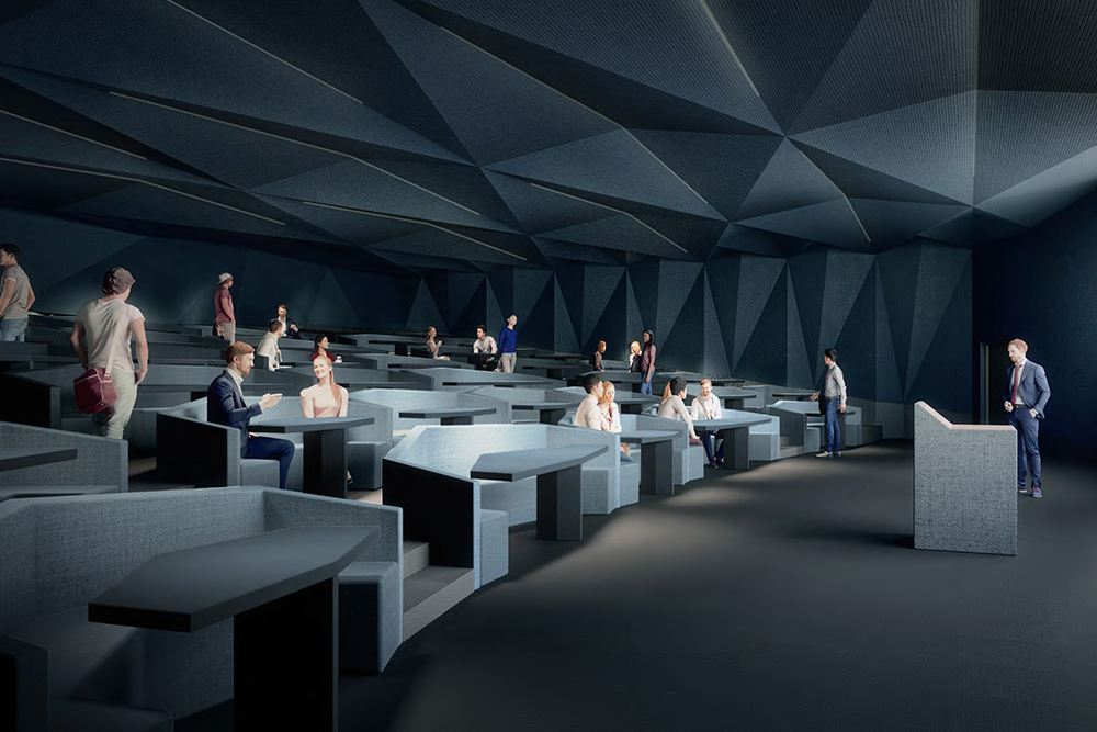 Rendering of banquet-style seating lecture theatre.