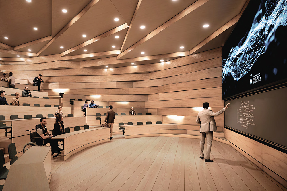 Rendering of back of standard-style seating lecture theatre.