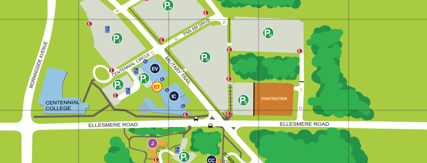 Campus map of parking areas