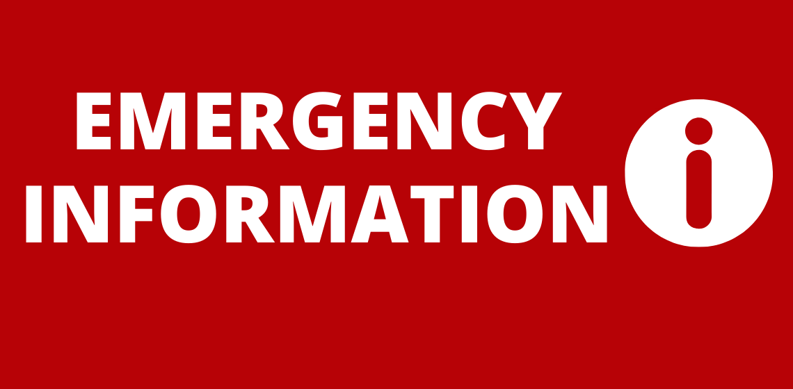 Emergency Information text and exclamation mark on red background