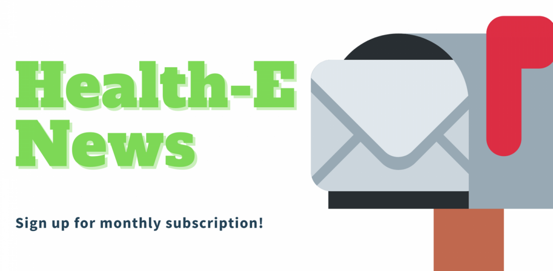 Health-E News text and mailbox with letter