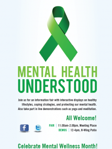 Poster of green ribbon and details of Mental Health Understood event
