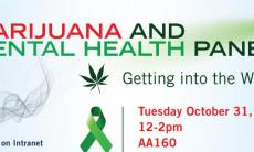 banner with text marijuana and mental health panel