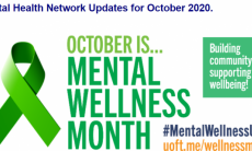green ribbon and text October is Mental Wellness Month
