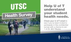states UTSC health survey with students walking on path from residence to Hwing