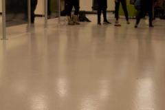 Students playing bean bag boccia