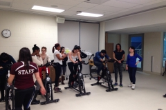 Students working hard at our cycling station