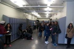 Students gathered in the hallway to prepare for the race