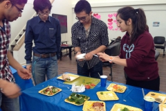 Students working in a group to get their meal just right