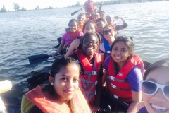 Group of students on the boat