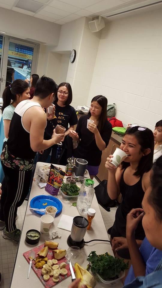 Students enjoying their smoothies